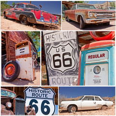 Keuken foto achterwand Route 66 Route 66 collage