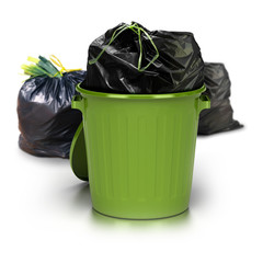 green garbage can over a white background