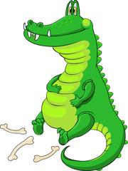 Довольный сытый крокодил