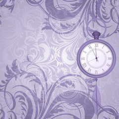 Vintage frosty background with pocket watches on chain