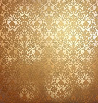 Vintage golden wallpaper with damask pattern