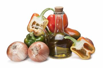 Aceite de oliva y hortalizas frescas.