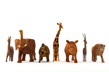 wood animals in white background