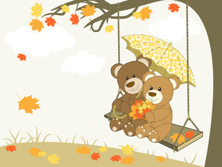 Canvas Prints Bears Bears on a swing - Autumn Romance