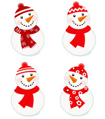 Cute vector snowmen collection isolated on white ( red )..