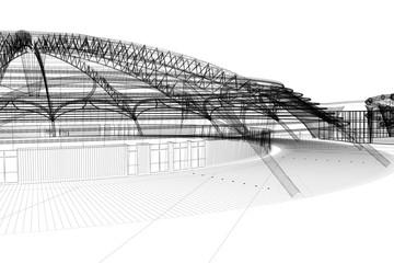 progetto sports arena rendering 3d ingegneria architettura