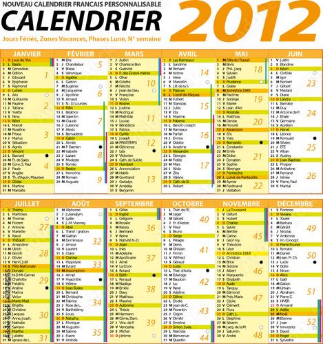 calendrier des lunes 2012