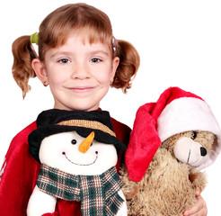 little girl with snowman and teddy-bear Christmas