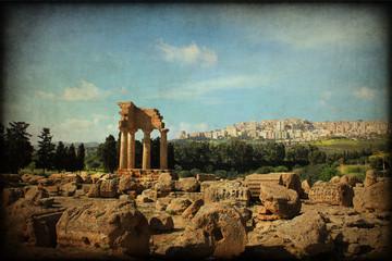 Valle dei Templi di Agrigento, texture retro