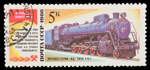 USSR, shows steam locomotive series FD 1-5-1, circa 1986