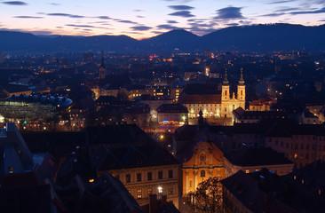 Graz nach Sonnenuntergang - Sicht Richtung Westen