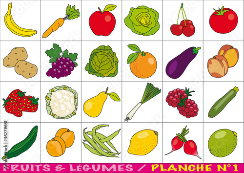 Fruits et l gumes planche n 1 fichier vectoriel libre de droits sur la banque d 39 images - Fruits et legumes de a a z ...