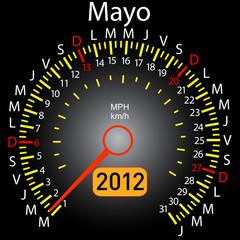 2012 year calendar speedometer car in Spanish. May