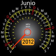 2012 year calendar speedometer car in Spanish. June
