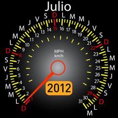 2012 year calendar speedometer car in Spanish. July