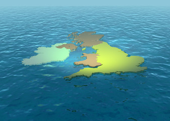 A 3D map of United Kingdom on the sea 2