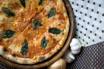 tasty pizza and ingredient