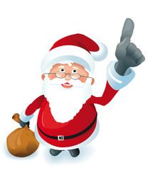 kleiner Weihnachtsmann zeigt nach oben