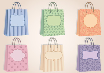 shopping bags with blank labels, vector
