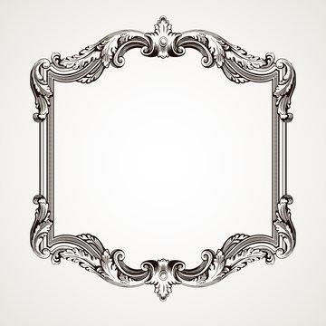 Vector vintage border  frame engraving
