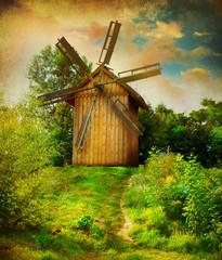 Windmill. Beautiful rural Landscape