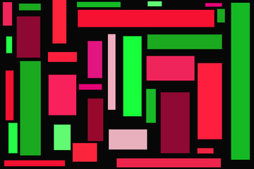 Rectangles In Different Shades Of Red And Green