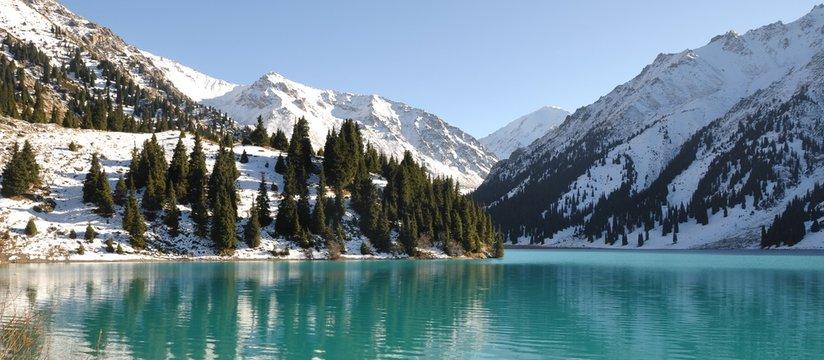 Scenic Big Almaty Lake Kazakhstan