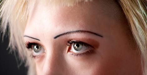 Closeup of beautiful green eyes