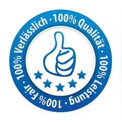 100% Qualität, 100% Verlässlich, 100% Leistung, 100% Fair