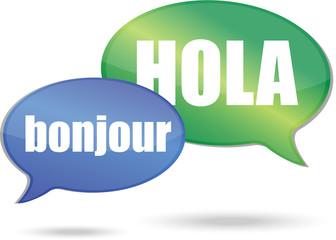 Bonjour and hola messages illustration design