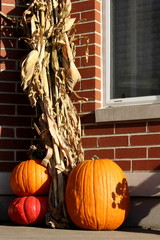 Pumpkins on doorstep