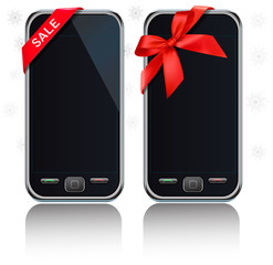 Two touch-screen mobile phones. Vector.