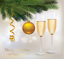 Christmas background with two glasses of champagne.