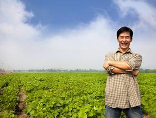 success asian middle-aged farmer