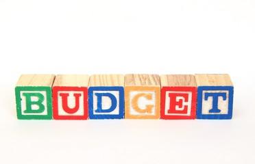 Budget in alphabet blocks