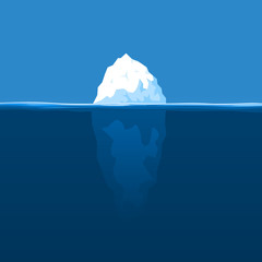 The white iceberg floats at ocean