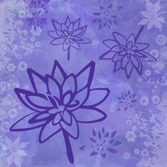 Fototapete - Fond Abstrait avec Fleurs de Lotus et Bordure - Illustration