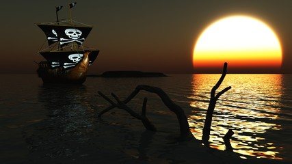 Piratenschiff auf See vor Sonnenuntergang