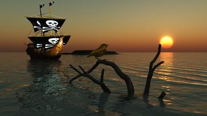 Piratenschiff auf See