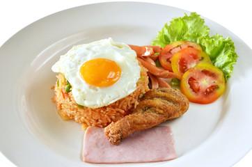 American style breakfast set, fried rice