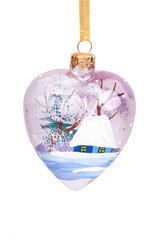 Close-up of pink christmas heart-shaped decoration hanging