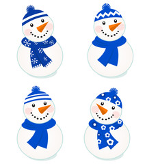 Cute vector snowmen collection isolated on white ( blue )..