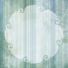 Fototapete - Fond Rayures et Feuilles en Vert avec Cadre blanc - Illustration