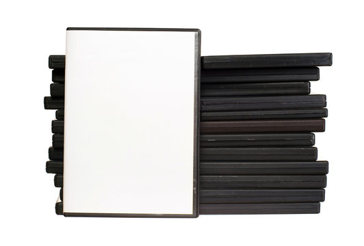 Heap of DVDs isolated on the white background