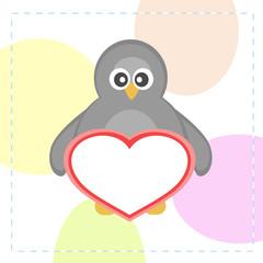 cute vector penguins holding love heart card