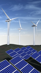 Solar panels and wind turbines with a blue sky