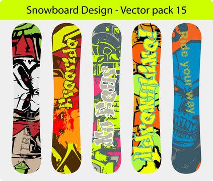 Snowboard design pack , full editable designs vector