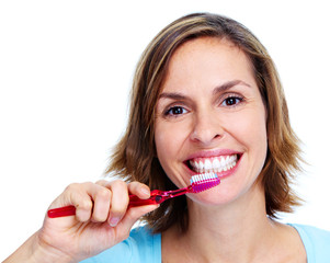 Woman with toothbrush.