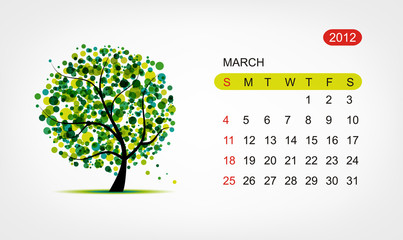 Vector calendar 2012, march. Art tree design
