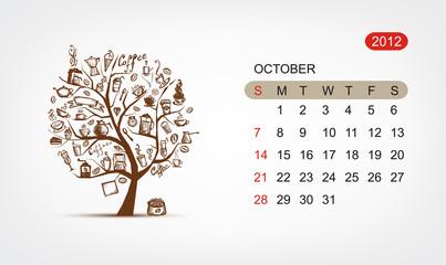 Vector calendar 2012, october. Art tree design